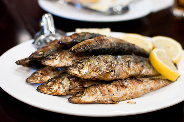Grilled sardines are a very popular Portuguese delicacy.