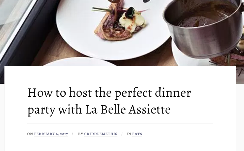 La Belle Assiette press round up